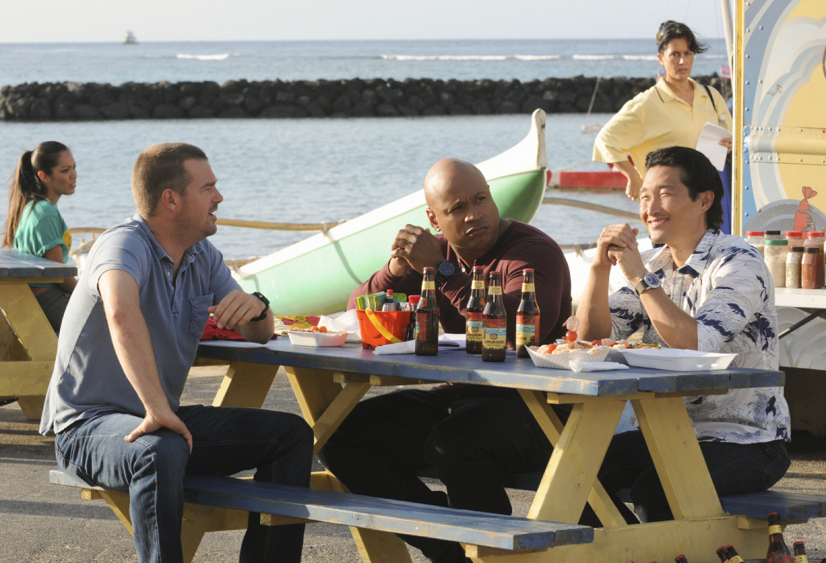 NCIS: LOS ANGELES Special Agents G. Callen (Chris O'Donnell) and Sam Hanna (LL COOL J) team up with Chin Ho (Daniel Dae Kim) in Hawaii to track down a suspect who is threatening to release a deadly virus into the population, on HAWAII FIVE-0, Monday, April 30