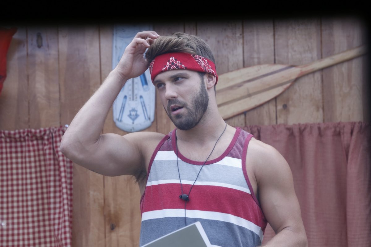 Paulie Calafiore from MTV's 'The Challenge' in a striped shirt and bandana competing on 'Big Brother'