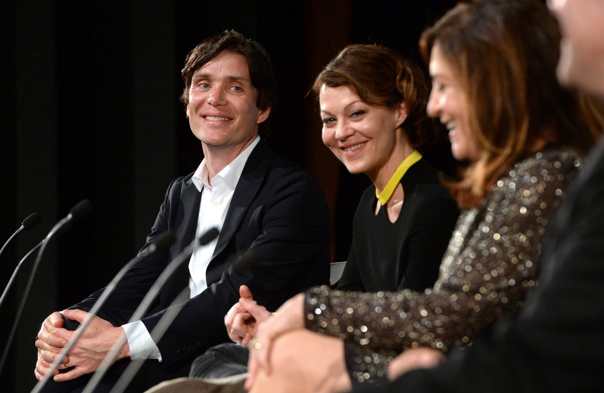 Cillian Murphy, the star of 'Peaky Blinders' Season 6, with Helen McCrory during a Q&A at the premiere of 'Peaky Blinders' Season 3