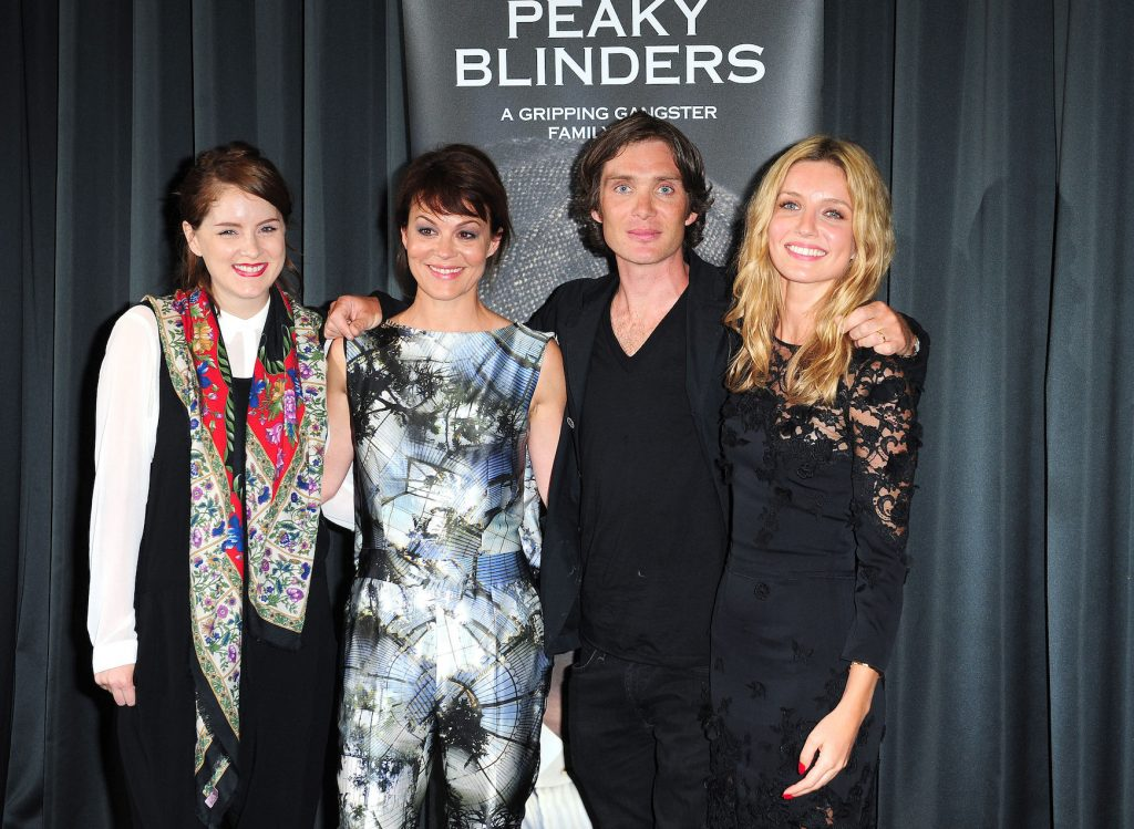 Sophie Rundle, Helen McCrory, Cillian Murphy, and Annabelle Wallis, actors in 'Peaky Blinders' Season 6, standing at a gala screening of the show