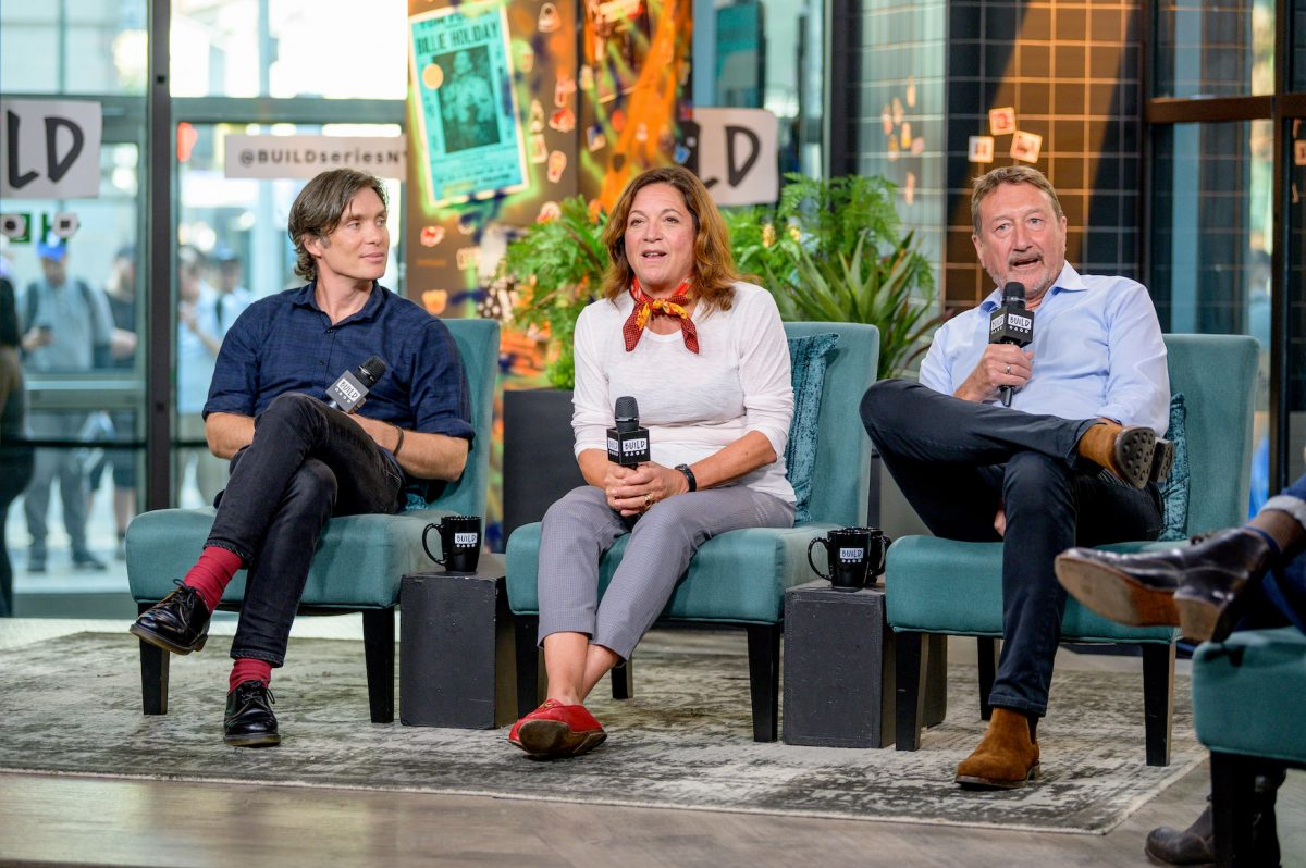 Cillian Murphy, Caryn Mandabach, and Steven Knight, actors and creators of 'Peaky Blinders' Season 6, sitting on a couch to discuss 'Peaky Blinders' with the Build Series