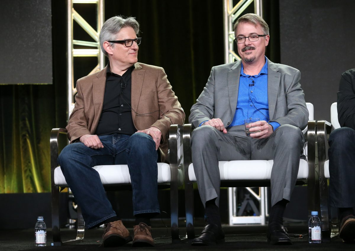 'Better Call Saul' producer Peter Gould looking at Vince Gilligan while sitting