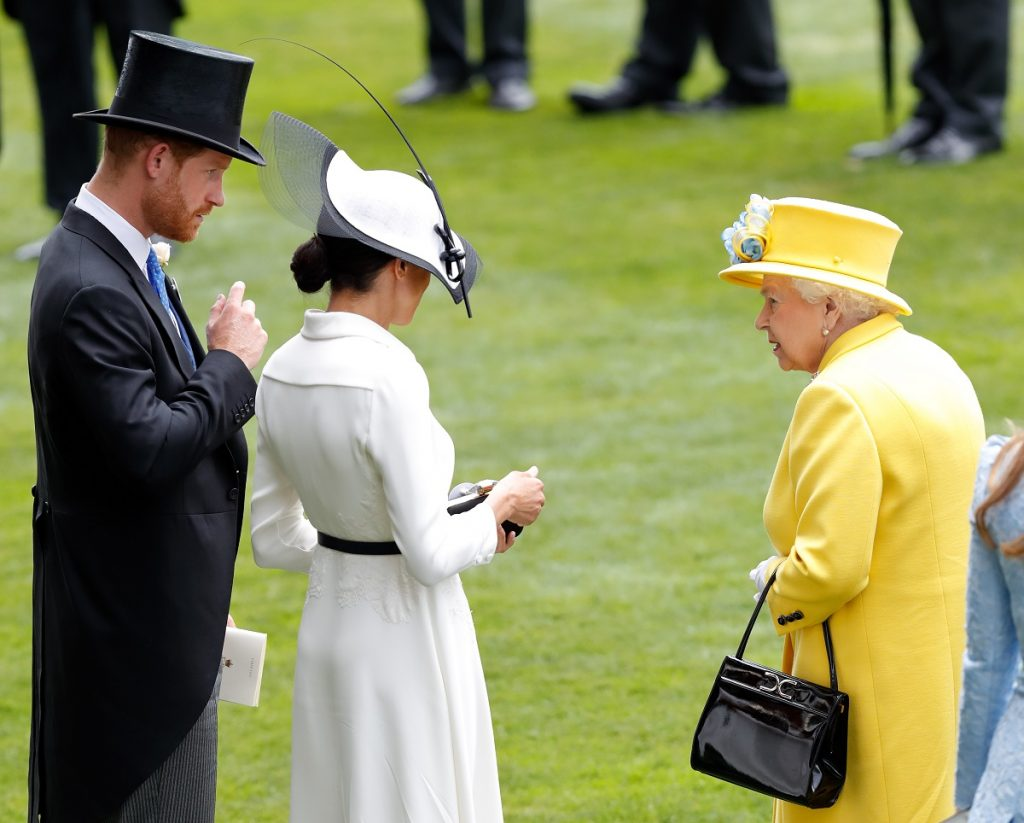 Prince Harry, Meghan Markle, and Queen Elizabeth II attending day 1 of Royal Ascot