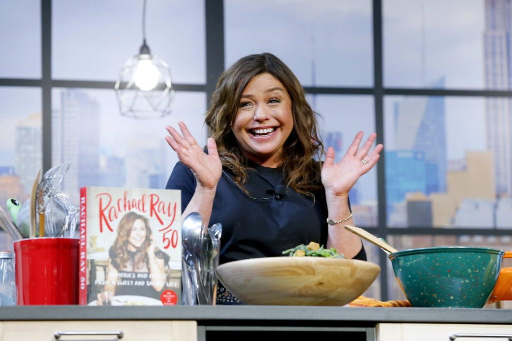 Chef Rachael Ray onstage during a culinary demonstration at the Grand Tasting presented by ShopRite featuring Culinary Demonstrations at The IKEA Kitchen presented by Capital One at Pier 94