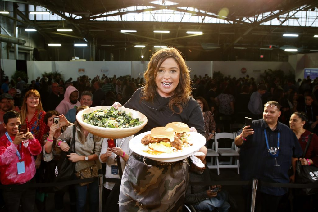Chef Rachael Ray onstage during a culinary demonstration at the Grand Tasting presented by ShopRite featuring Culinary Demonstrations at The IKEA Kitchen presented by Capital One