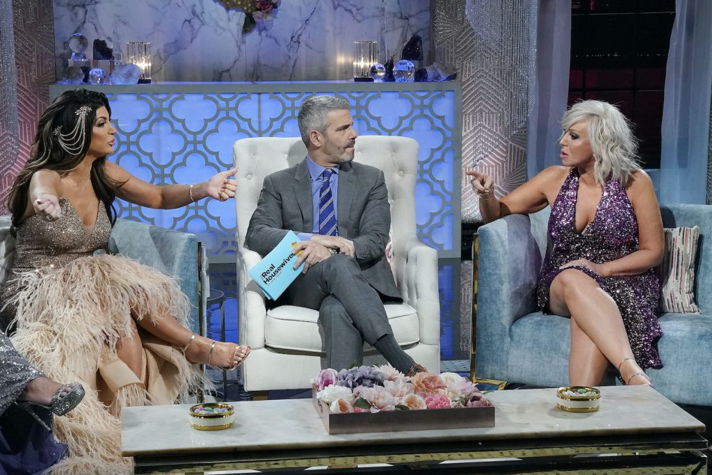 Teresa Giudice, Andy Cohen, Margaret Josephs on 'The Real Housewives of New Jersey' during a reunion