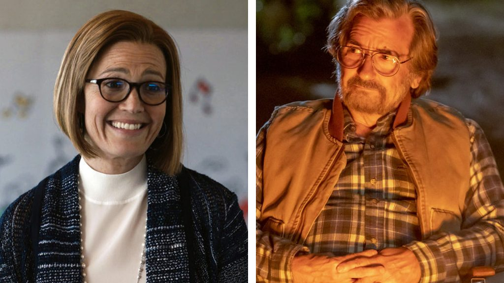 Split photo of Mandy Moore as Rebecca Pearson and Griffin Dunne as Nicky Pearson in 'This Is Us' Season 5