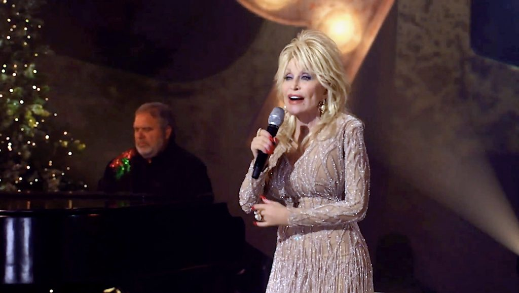 Screengrab of Dolly Parton performing during the Billboard Women In Music 2020 event