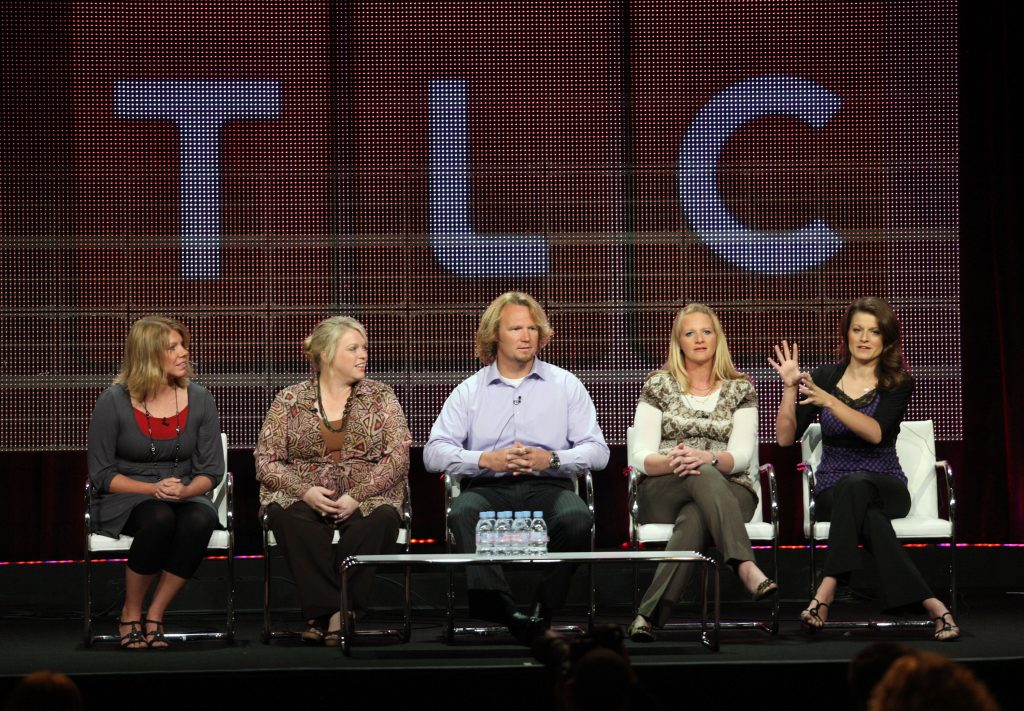 Meri Brown, Janelle Brown, Kody Brown, Christine Brown and Robyn Brown sit on stage for the 2010 Summer TCA Press Tour