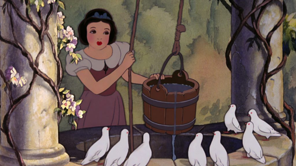 Snow White of 'Snow White and the Seven Dwarfs' in Disney Junior's 'A Poem Is...' standing over her wishing well