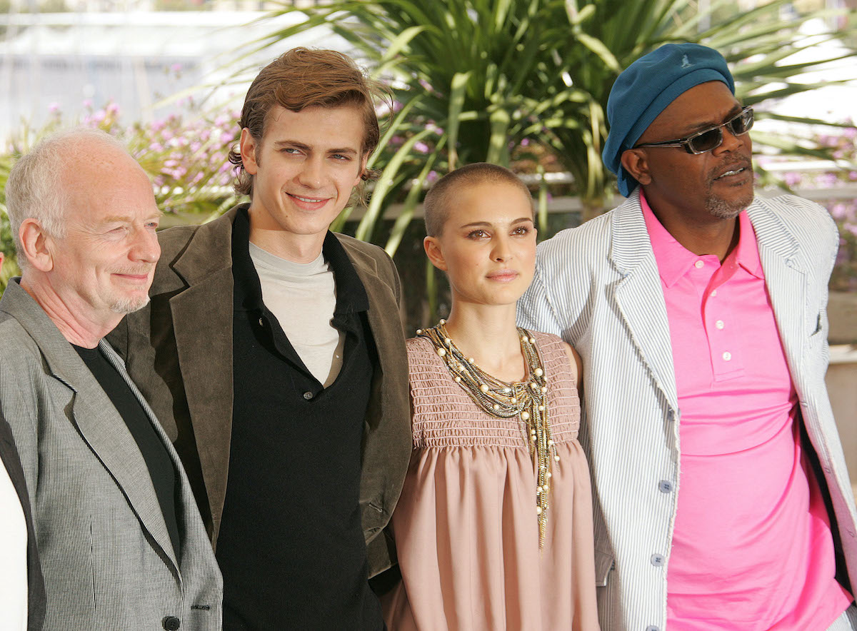 'Star Wars' actors Ian McDiarmid, Hayden Christensen, Natalie Portman, and Samuel L. Jackson are all dressed up and posing at a red carpet event