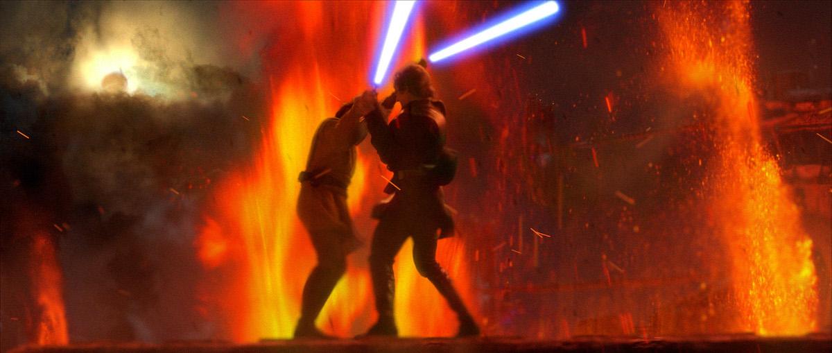 Anakin Skywalker (Hayden Christensen) and Obi-Wan Kenobi (Ewan McGregor) do battle on the fiery lava planet of Mustafar in a scene from 'Star Wars: Episode III -- Revenge of the Sith'