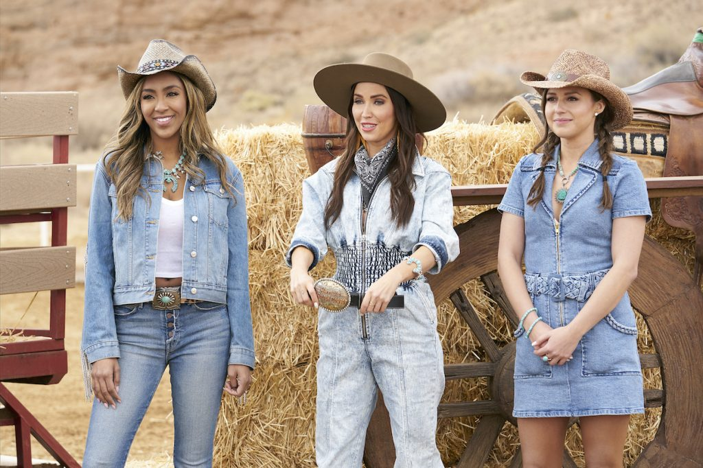 Tayshia Adams, Kaitlyn Bristowe, and Katie Thurston filming an episode of The Bachelorette 2021