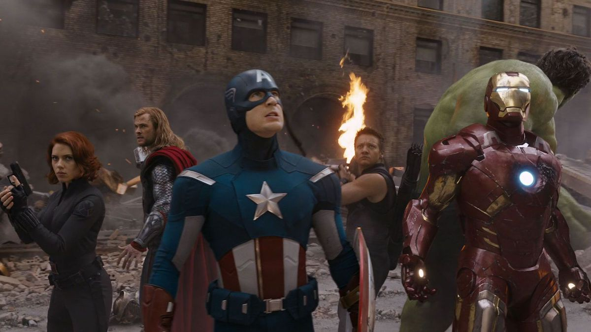 The cast of 'The Avengers' stands ready for battle in a scene from the movie