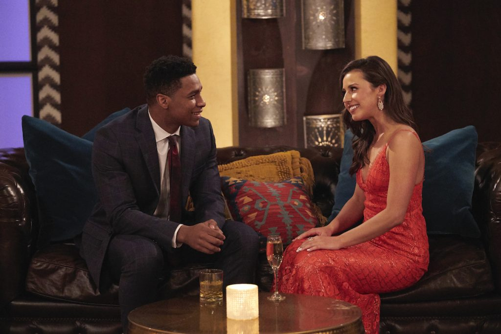 Katie Thurston and Andrew S sit on a couch talking on 'The Bachelorette'