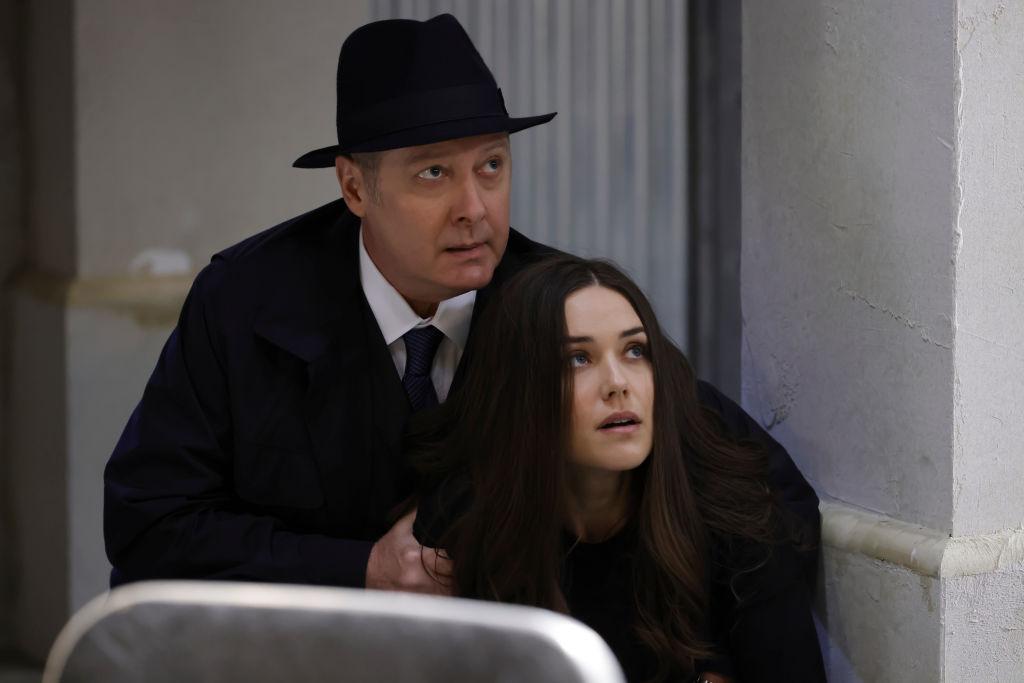 James Spader as Raymond 'Red' Reddington, Megan Boone as Liz Keen duck and hide from danger.