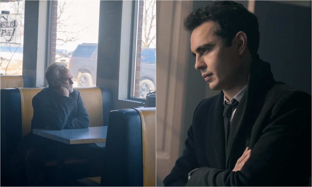 A joined photo of Nick Blaine standing with his arms crossed and Commander Lawrence sitting at a diner table in 'The Handmaid's Tale'