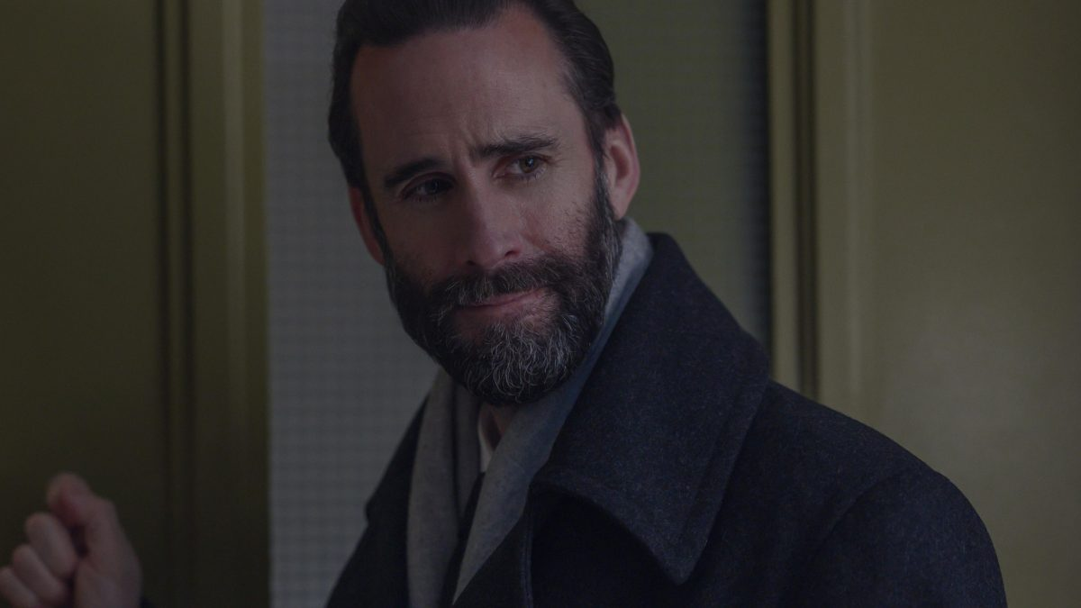 Joseph Fiennes as Fred Waterford says goodbye to Serena Joy in 'The Handmaid's Tale Season 4 finale, episode 10, 'The Wilderness'