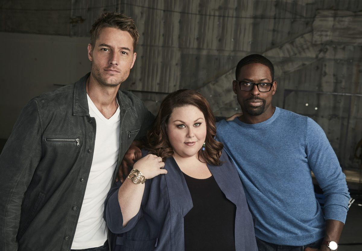 'This Is Us': The Big Three, Justin Hartley as Kevin Pearson, Chrissy Metz as Kate Pearson and Sterling K. Brown as Randall Pearson hugging each other while staring at the camera.