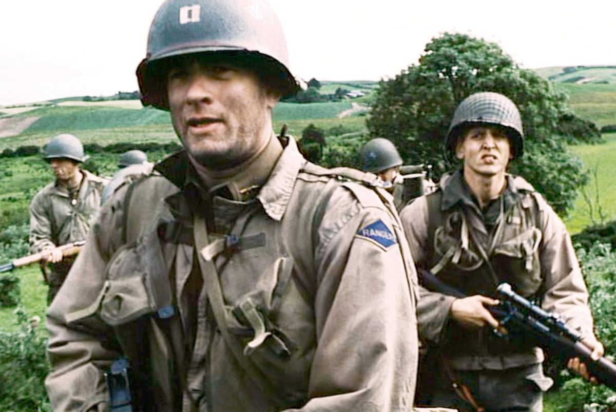Tom Hanks and Barry Pepper march in 'Saving Private Ryan'