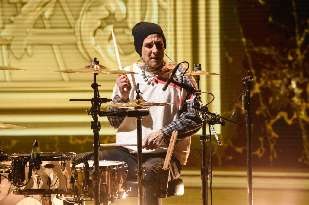 Travis Barker plays the drums at the 2020 MTV Movie & TV Awards: Greatest Of All Time