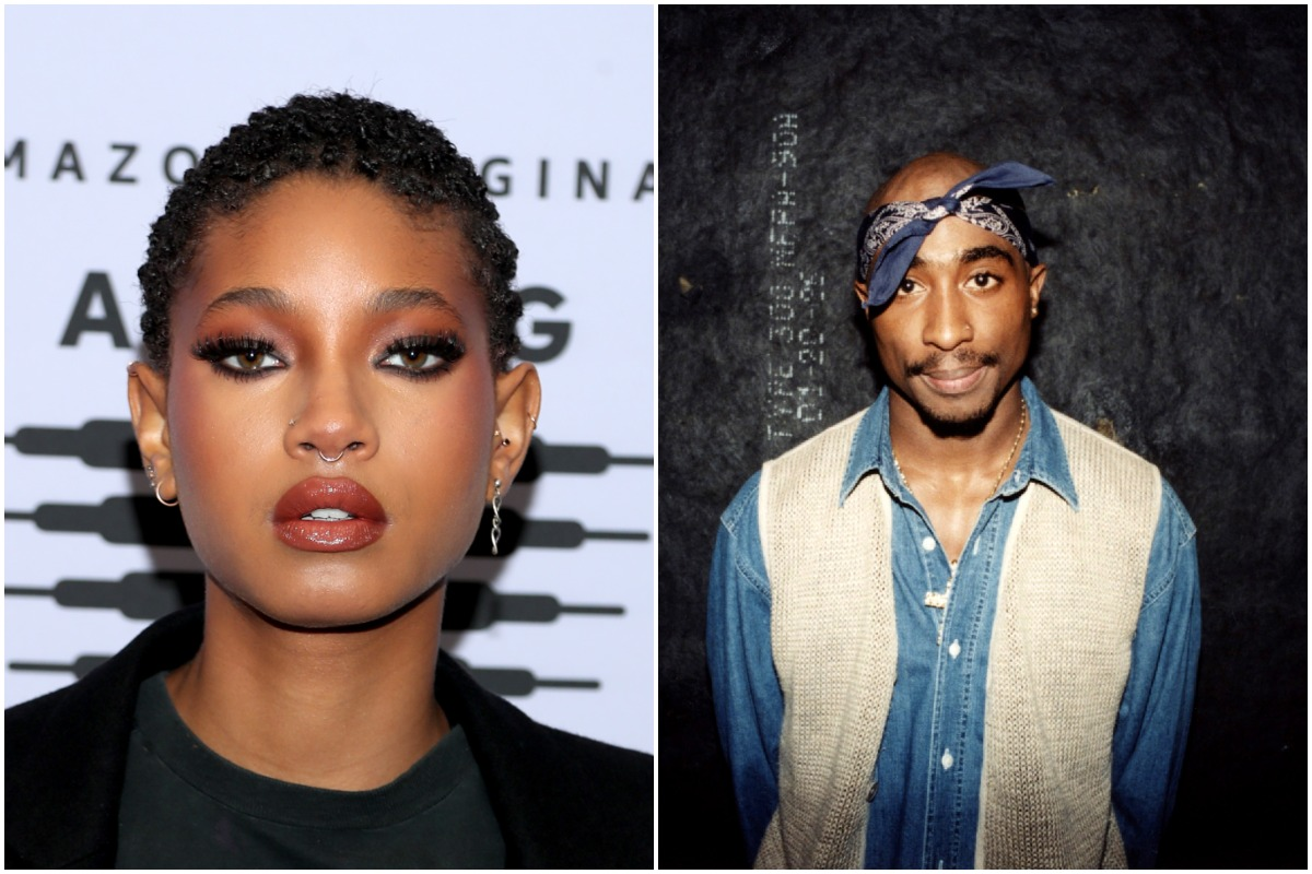 A side-by-side photo of Willow Smith and Tupac Shakur