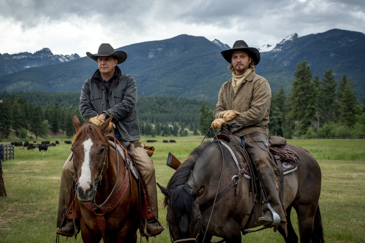 'Yellowstone' stars Kevin Costner (John Dutton) and Luke Grimes (Kayce Dutton) on horses in an image from season 3