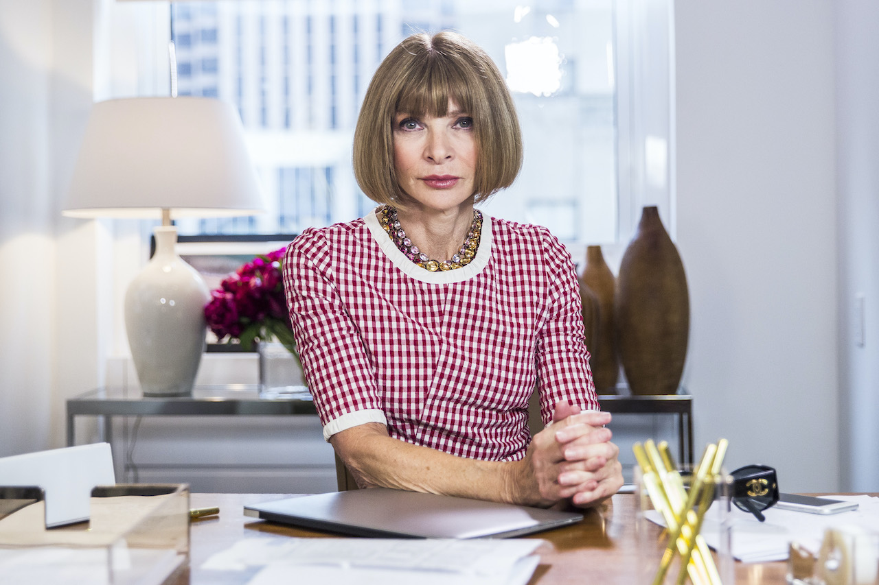"""Anna Wintour during the """"Anna Wintour: Comedy Icon"""" skit on 'Late Night With Seth Myers'"""
