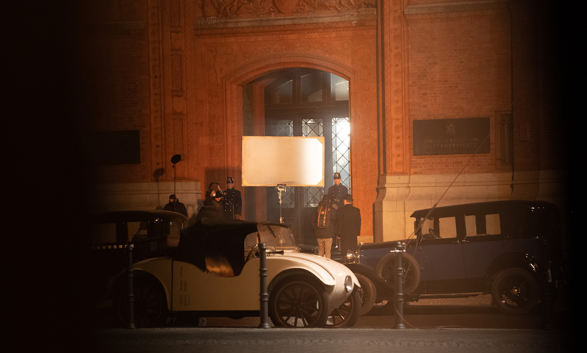 People working on a night shoot for 'Babylon Berlin' in April 2021