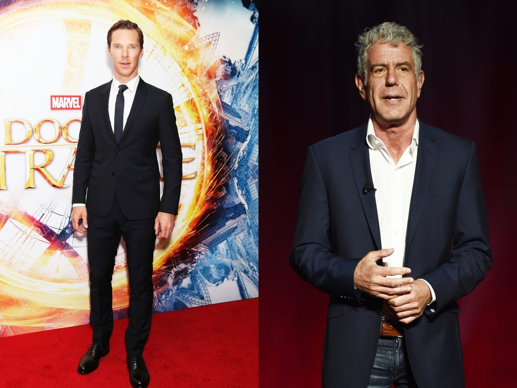 Benedict Cumberbatch attends the fan screening event for 'Doctor Strange' on October 24, 2016 and Anthony Bourdain at the Turner Upfront 2016 show at The Theater at Madison Square Garden in New York City