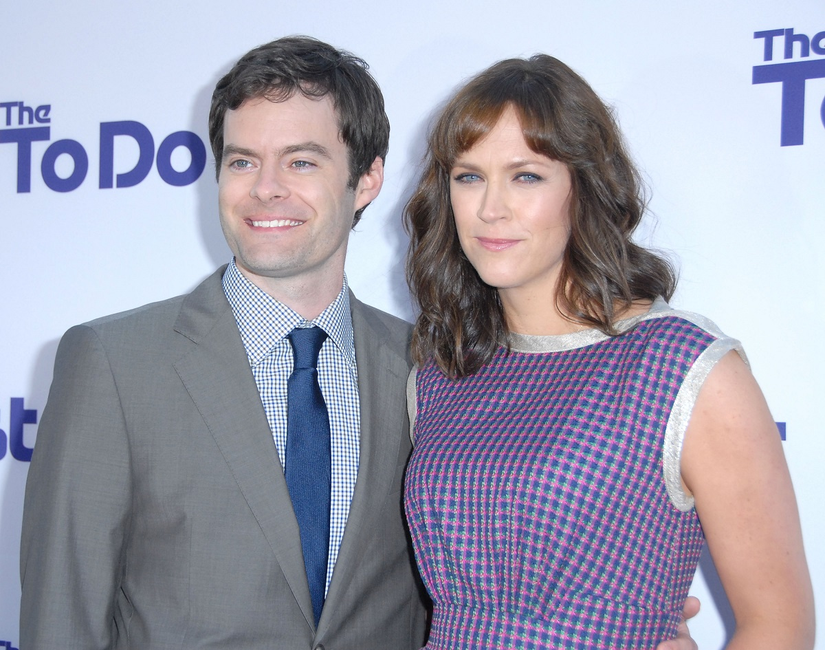 Actor Bill Hader (L) and Maggie Carey arrive at the Los Angeles Premiere of 'The To Do List' on July 23, 2013, in Westwood, California.