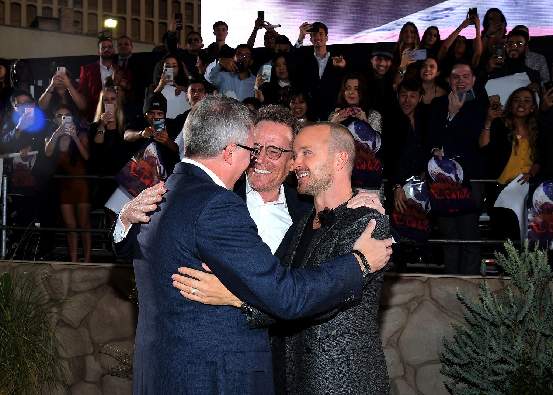 Breaking Bad stars Aaron Paul, Bryan Cranston, and writer Vince Gilligan