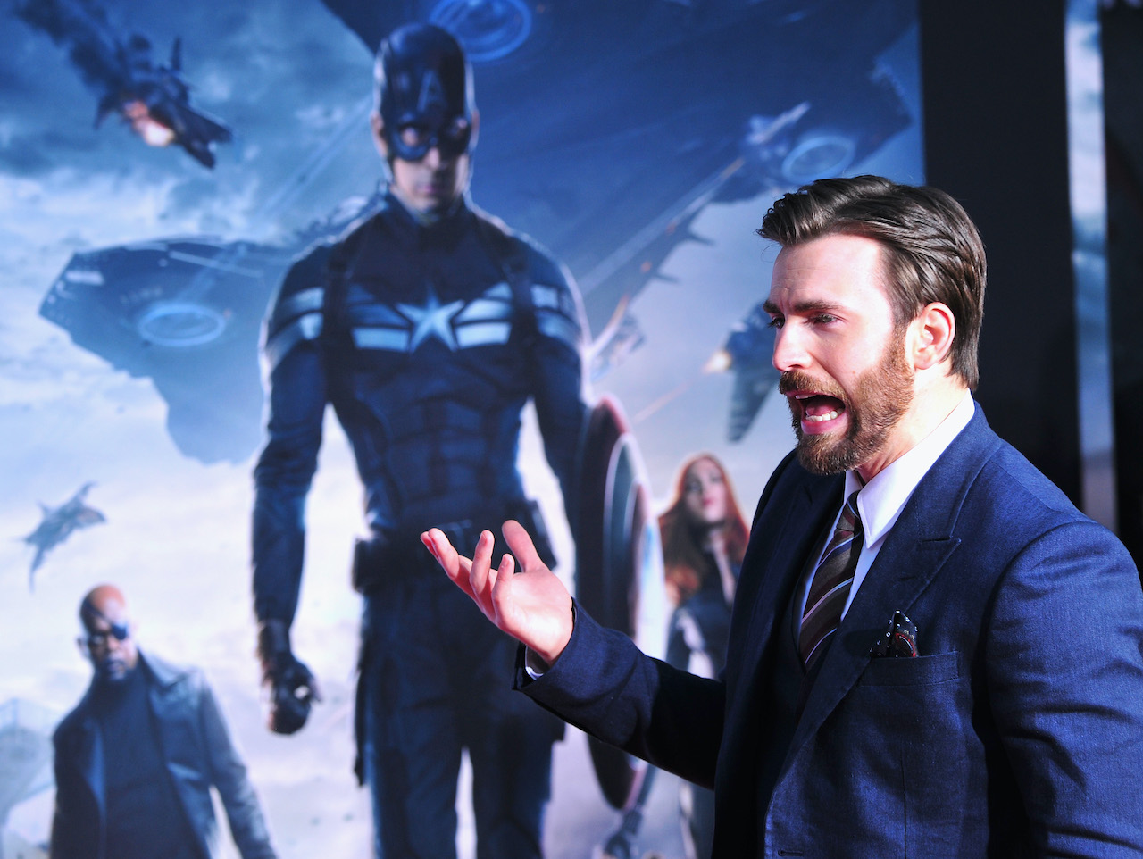 """Chris Evans arrives at the premiere Of Marvel's """"Captain America: The Winter Soldier"""