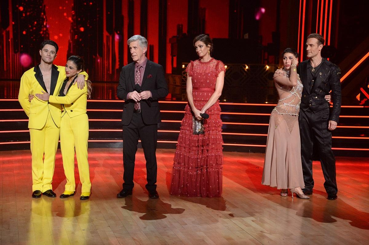 L-R: Sasha Farber, Ally Brooke, hosts Tom Bergeron and Erin Andrews, Emma Slater, and James Van Der Beek on 'Dancing with the Stars'