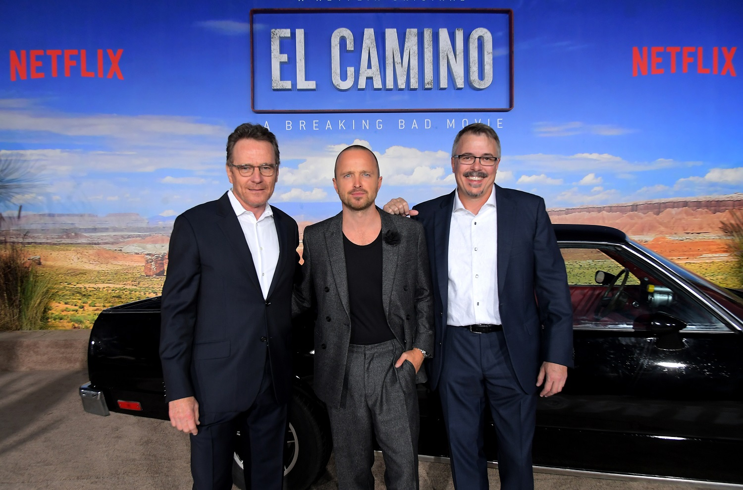 Breaking Bad stars Bryan Cranston and Aaron Paul and writer Vince Gilligan attend the World Premiere of El Camino: A Breaking Bad Movie