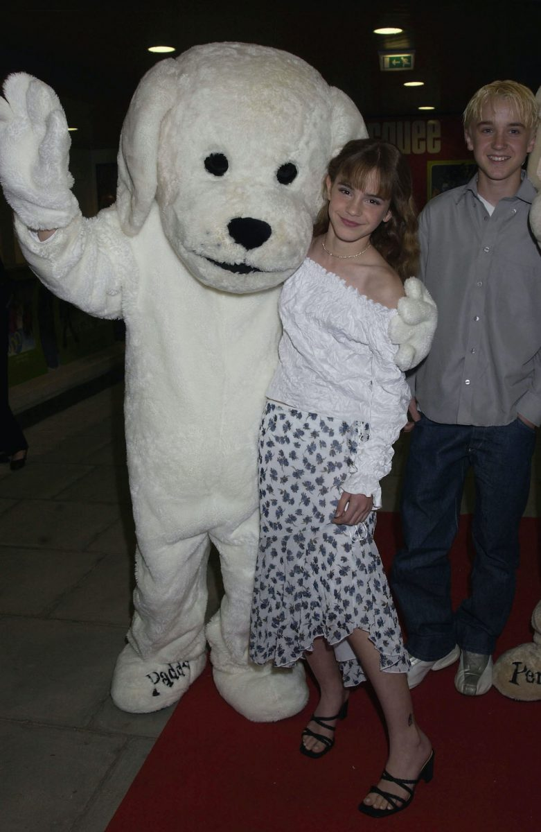 Emma Watson and Tom Felton from the Harry Potter film series at the London premiere of Scooby-Doo in 2002