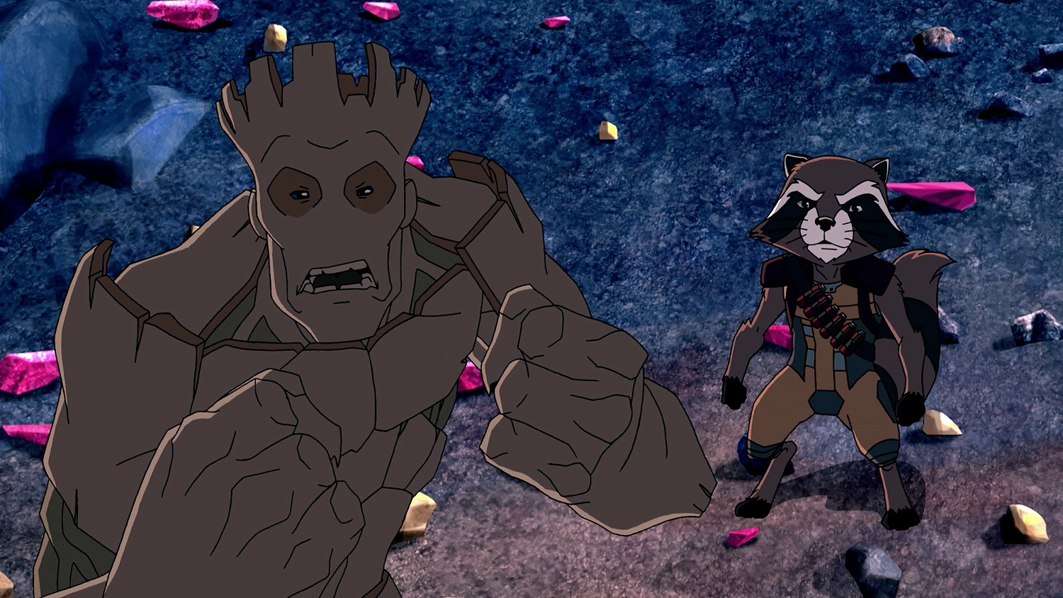 Groot and Rocket Raccoon in Marvel's Guardians of the Galaxy on Disney XD