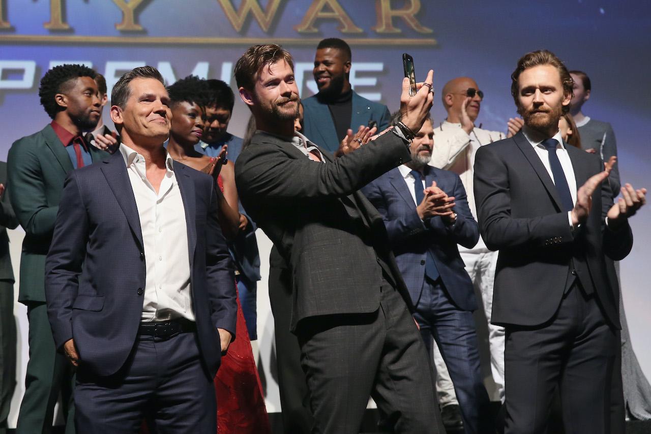 Actors Josh Brolin, Chris Hemsworth and Tom Hiddleston attend the Los Angeles Global Premiere for Marvel Studios' Avengers: Infinity War