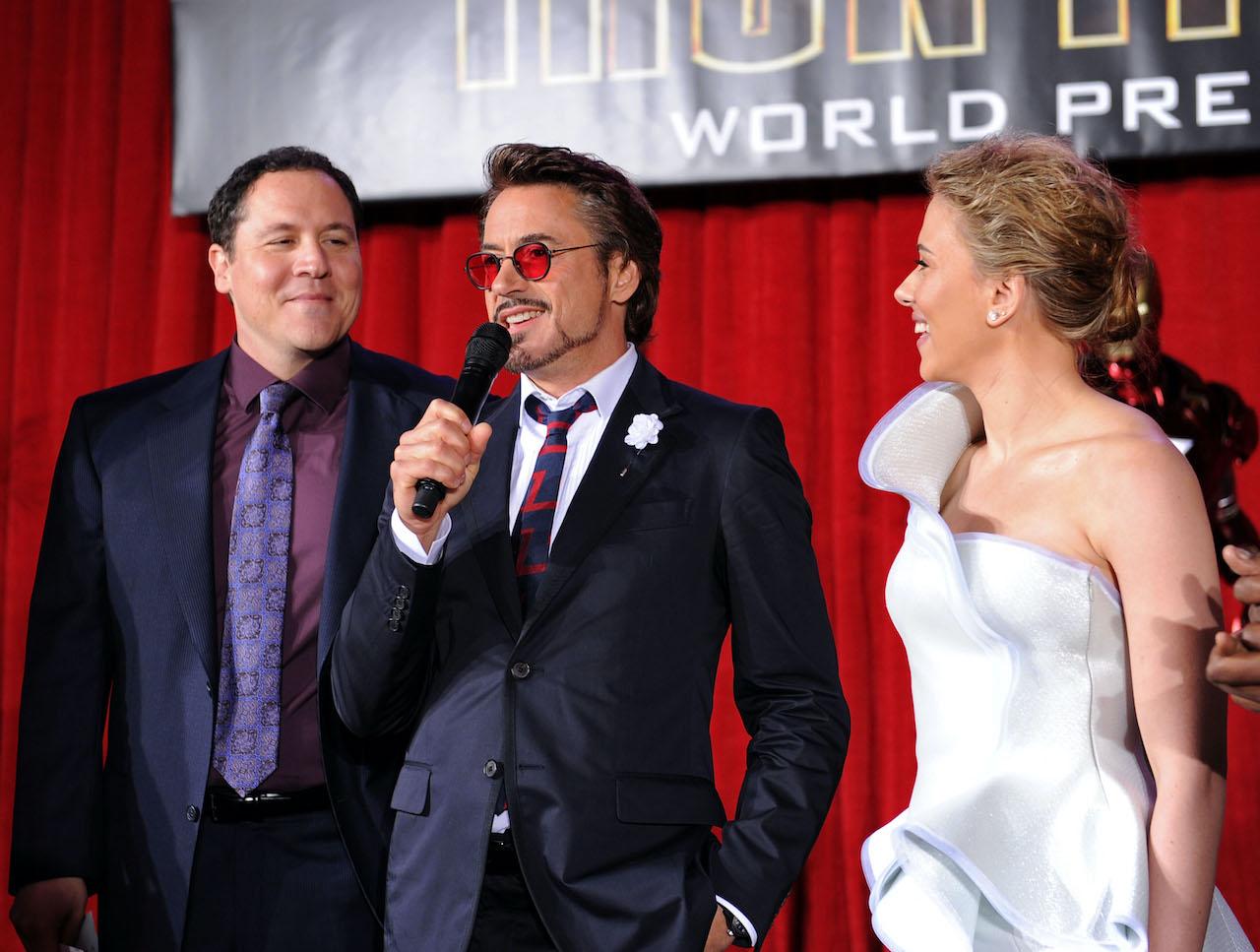 "Director/executive producer Jon Favreau, actor Robert Downey Jr. and actress Scarlett Johansson speak at the world premiere of ""Iron Man 2"""