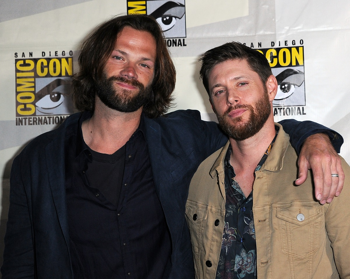 (L-R) Jared Padalecki and Jensen Ackles attend the 'Supernatural' Special Video Presentation and Q&A during 2019 Comic-Con International on July 21, 2019, in San Diego, California.