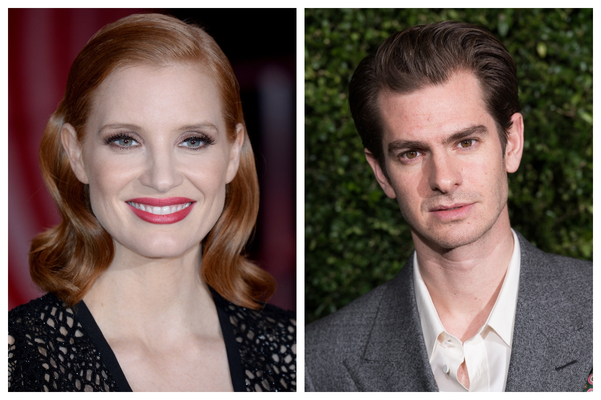 composite image of Jessica Chastain and Andrew Garfield