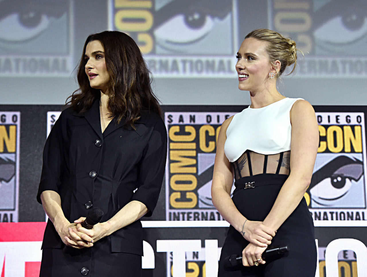 Rachel Weisz and Scarlett Johansson of Marvel Studios' 'Black Widow' at San Diego Comic-Con