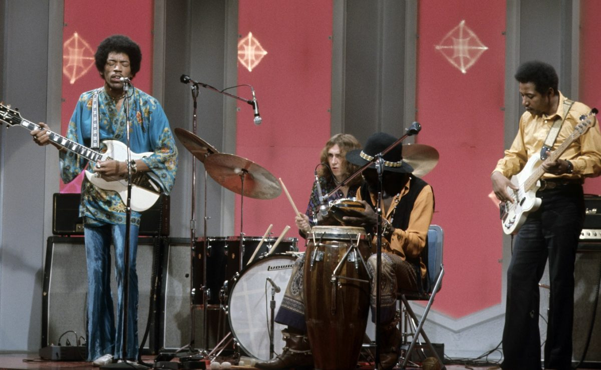 Jimi Hendrix Experience performing inside a TV studio in 1969