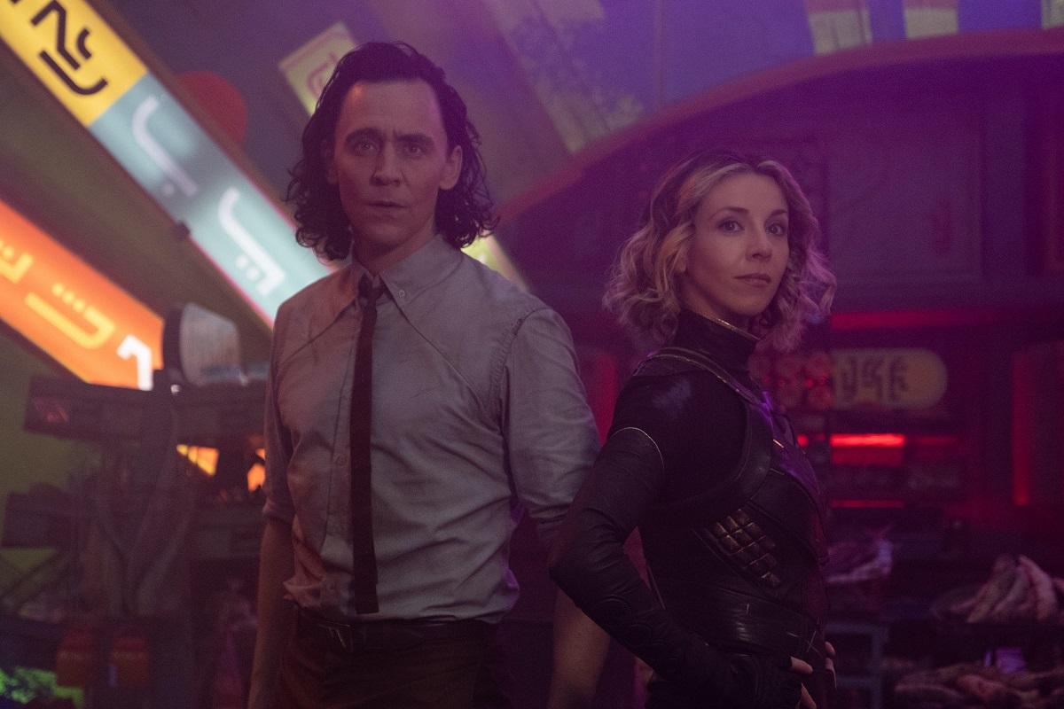 (L-R): Tom Hiddleston and Sophia Di Martino in Marvel Studios' 'Loki'