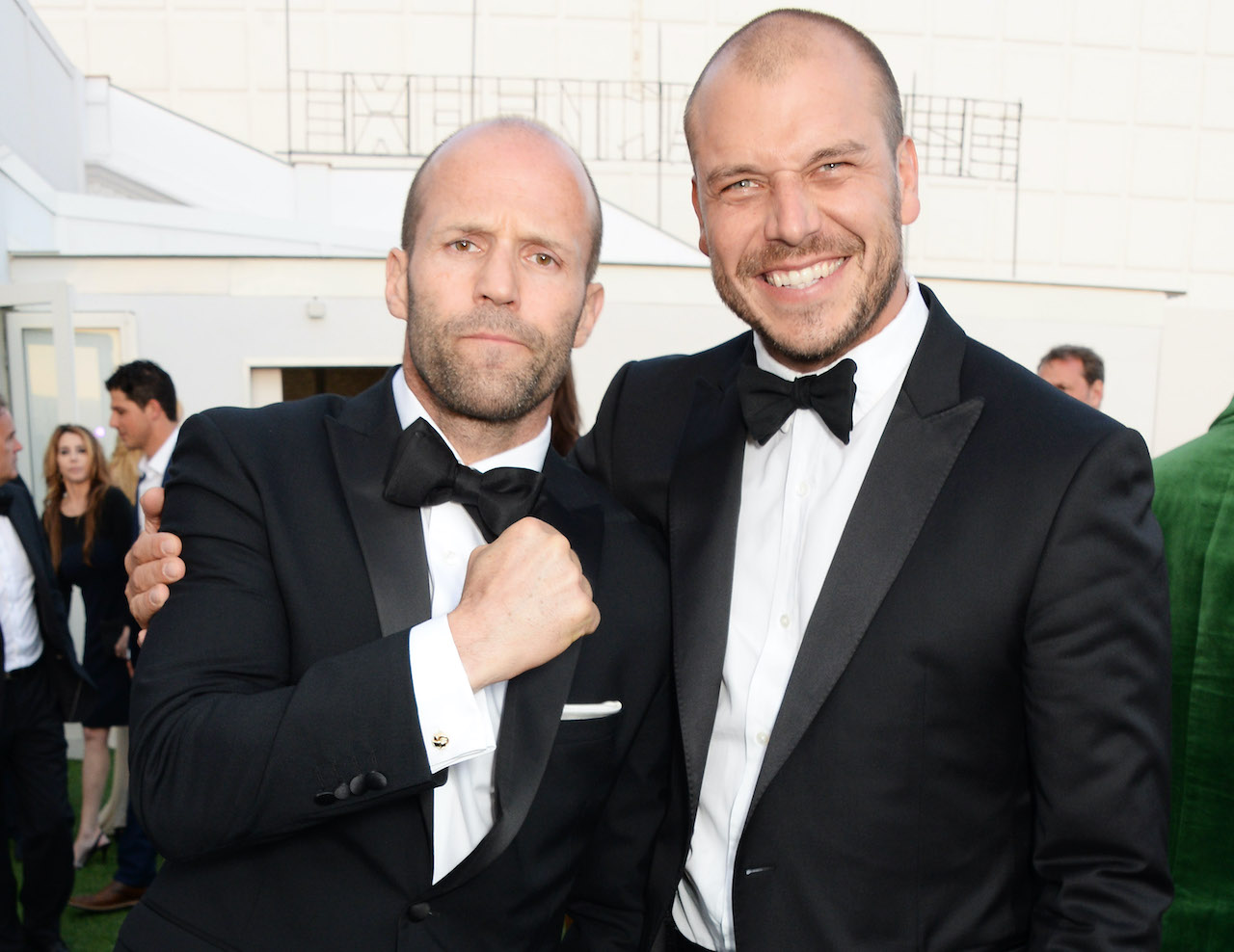 """Jason Statham (L) and director Patrick Hughes attend """"The Expendables 3"""" private dinner and party at Gotha Night Club"""