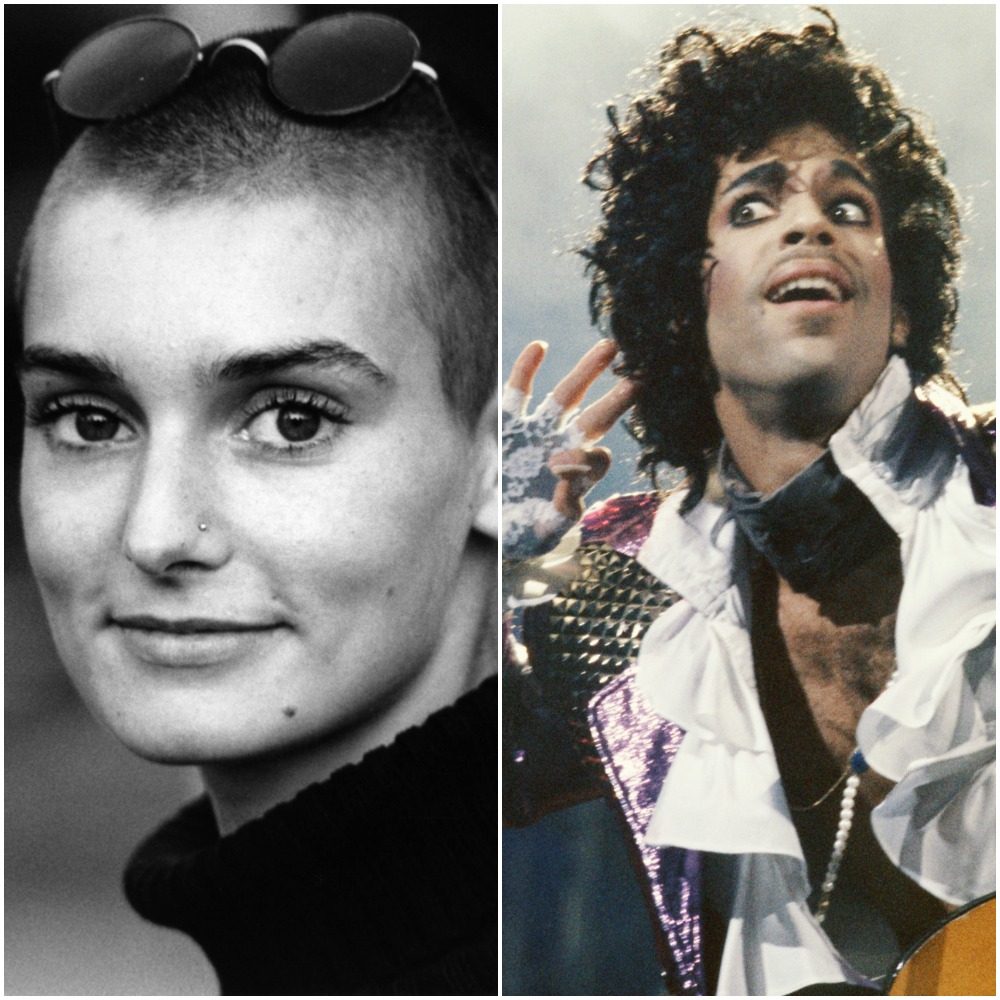 Left to right: portrait of singer Sinéad O'Connor in 1990; musician Prince holds his hand to his ear during a concert performance, 1985