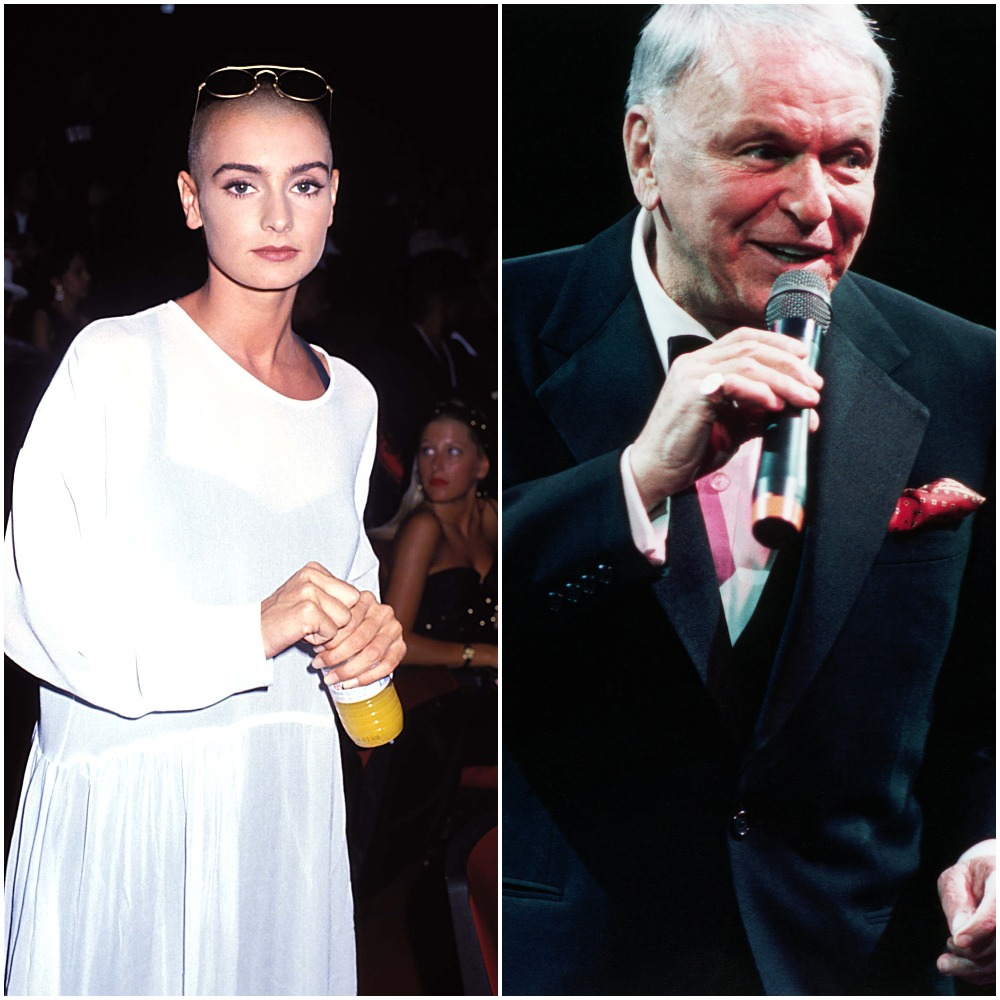 Sinéad O'Connor, left, wears a long-sleeved white dress with sunglasses perched on her head and an orange beverage in her hands; Frank Sinatra sings at his 75th birthday concert
