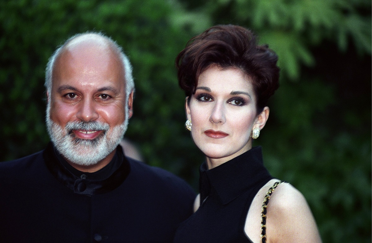 Celine Dion (R) and husband René Angélil at the World Music Awards on May 3, 1995.