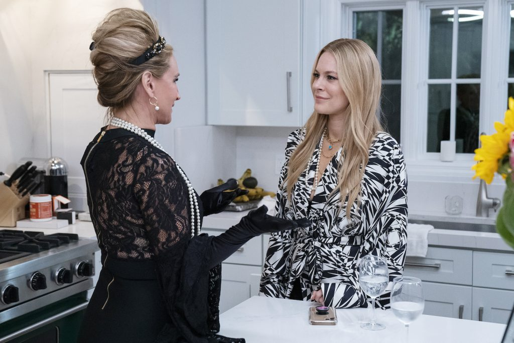 Sonja Morgan and Leah McSweeney having a conversation in the kitchen during a 'RHONY' Season 13 scene
