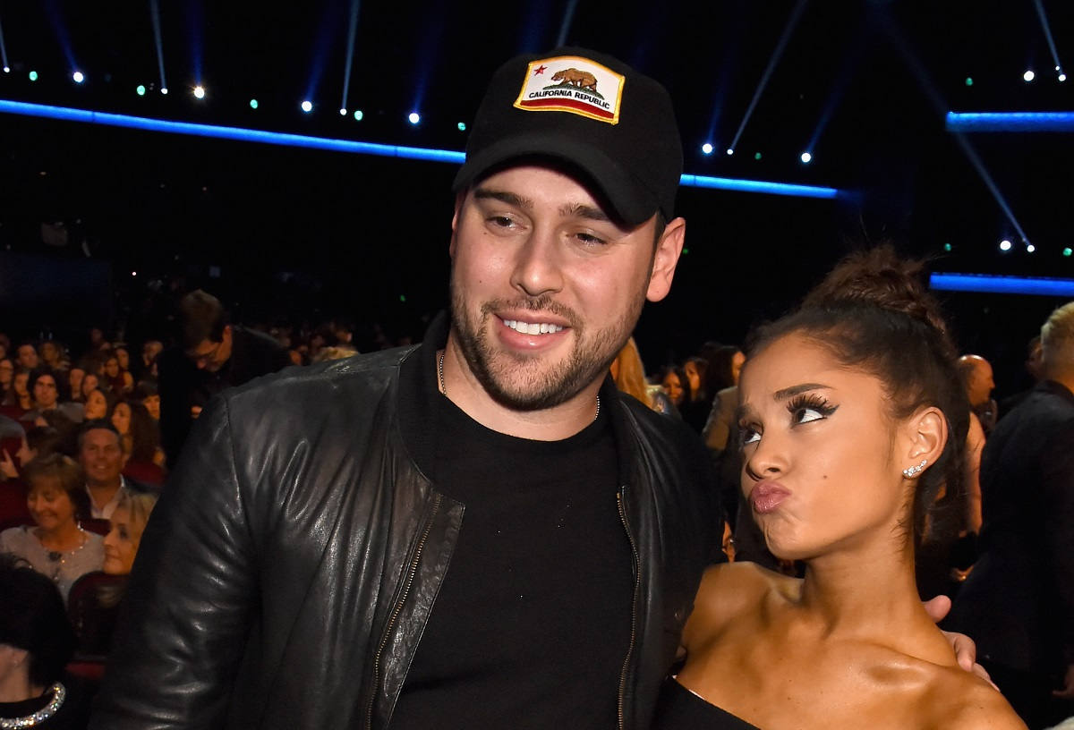 Scooter Braun (L) and Ariana Grande attend the 2015 American Music Awards on November 22, 2015, in Los Angeles, California.